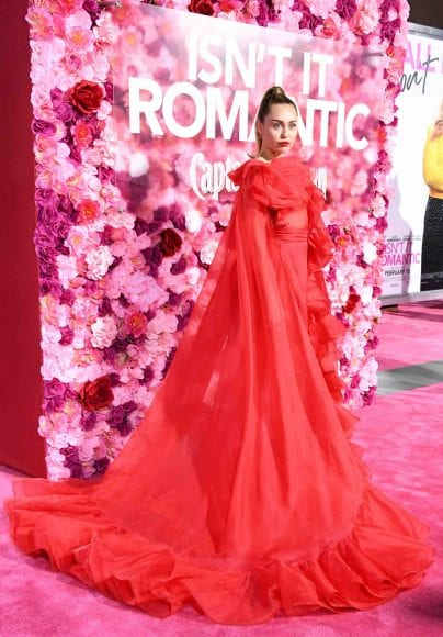 """LOS ANGELES, CALIFORNIA - FEBRUARY 11: Miley Cyrus attends the premiere of Warner Bros. Pictures' """"Isn't It Romantic"""" at The Theatre at Ace Hotel on February 11, 2019 in Los Angeles, California. (Photo by Jon Kopaloff/FilmMagic)"""